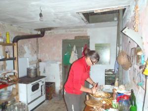 Sandrine is cooking
